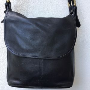 Vintage Coach Legacy Black Leather Flap Bag USA